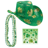 St. Patrick's Day Cowboy Hat, Shamrock Body Jewelry & Necklaces Accessory Bundle