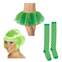 St. Patrick's Day Wig, Tutu & Knee High Shamrock Socks Accessory Bundle