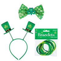 St. Patrick's Day Top Hat Headband, Bowtie & Bracelets Accessory Bundle