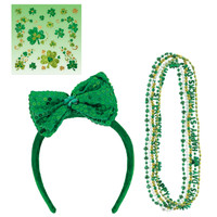 St. Patrick's Day Necklaces, Shamrock Body Jewelry & Bowtie Headband Accessory Bundle