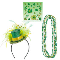 St. Patrick's Day Necklaces, Shamrock Body Jewelry & Top Hat Headband Accessory Bundle