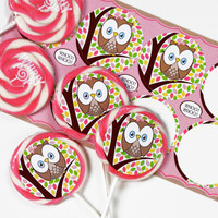 Pink Owl Deluxe Lollipop Favor Kit