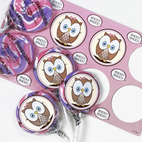 Pink Owl Lollipop Favor Kit