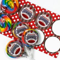 Sock Monkey Red Lollipop Favor Kit
