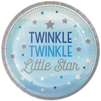 """Twinkle Twinkle Little Star Blue 9"""" Dinner Plates (8)"""