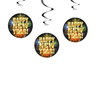 Happy New Year 2017 Hanging Swirls