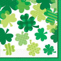 St. Patrick's Day Blooming Shamrocks Luncheon Napkins
