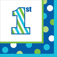 1st Birthday Boy Sweet Stripes Beverage Napkins (16)