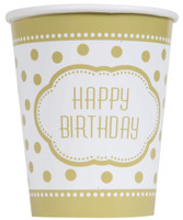 Golden Birthday 9oz. Paper Cups (8)