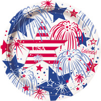 Patriotic Party Dinner Plates (8)
