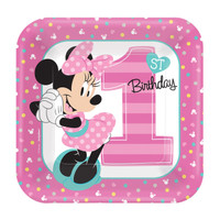 Disney Minnie Mouse 1st Birthday Dessert Plates (8)