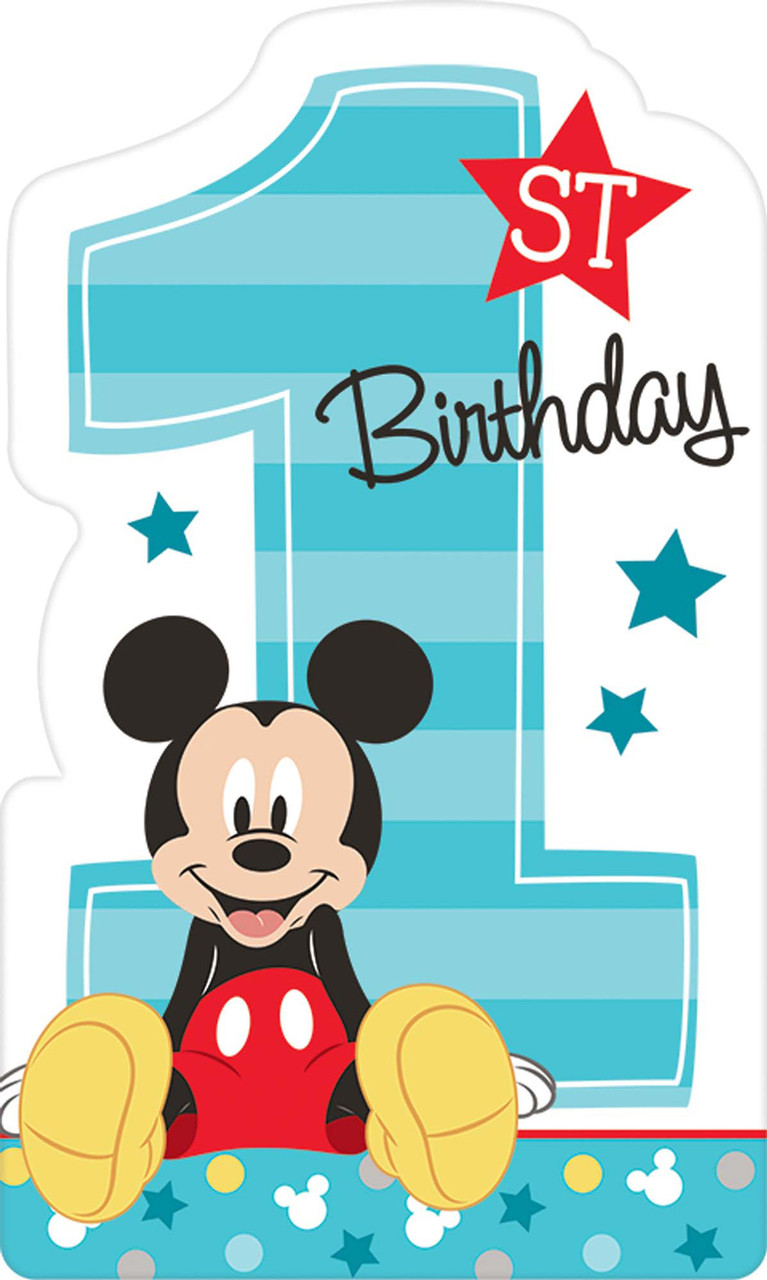 Disney Mickey Mouse 1st Birthday Invites 8 Image 1 Loading Zoom