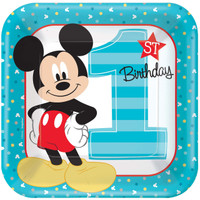 Disney Mickey Mouse 1st Birthday Dinner Plates (8)