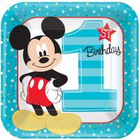 Disney Mickey Mouse 1st Birthday Dinner Plates (8)
