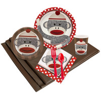 Sock Monkey Red Party Pack for 24