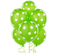Lime with White Polka Dots Latex Balloons