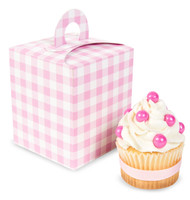 Light Pink Gingham Cupcake Boxes (Pack of 4)