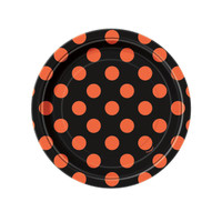 Orange and Black Dot Paper Dessert Plates