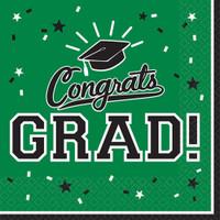 Graduation Beverage Napkins Green (36 Count)