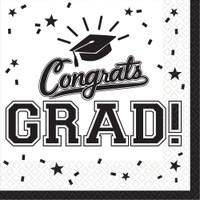 Graduation Beverage Napkins White (36 Count)