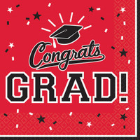 Graduation Beverage Napkins Red (36 Count)