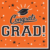 Graduation Lunch Napkins Orange (36 Count)