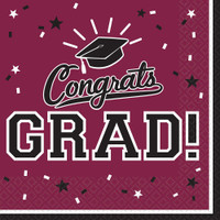 Graduation Lunch Napkins Maroon Burgundy (36 Count)