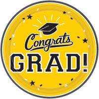 Graduation 7 Dessert Plate Yellow (18 Count)