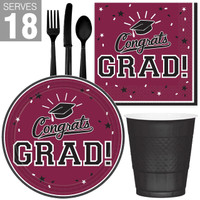 Congrats Grad Maroon Burgundy Party Pack For 18
