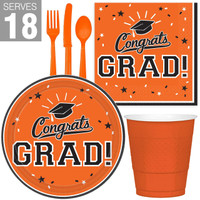 Congrats Grad Orange Party Pack For 18