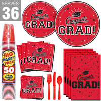 Congrats Grad Red Party Pack For 36