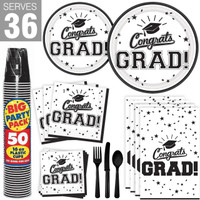 Congrats Grad White Party Pack For 36