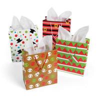 "Cheery Christmas Gift Bags w/ Tags 7.5"" x 9"" (12)"