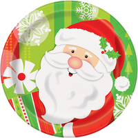 "Happy Santa 7"" Dessert Plate (8)"