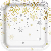 "Silver & Gold Holiday Snowflake 7"" Dessert Plate (8)"