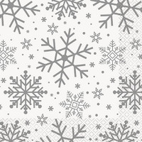 Silver & Gold Holiday Snowflake Lunch Napkin (16)
