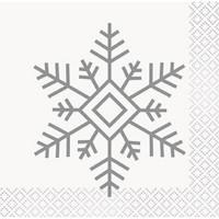 Silver & Gold Holiday Snowflake Beverage Napkin (16)