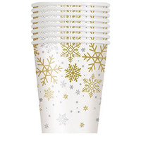 Silver & Gold Holiday Snowflake 9oz. Cup (8)