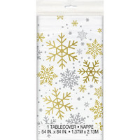 "Silver & Gold Holiday Snowflake Plastic Tablecover 54"" x 84"""