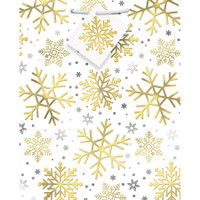 Foil Silver & Gold Holiday Snowflake Medium Giftbag (1)