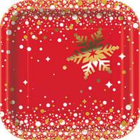 "Gold Sparkle Christmas 7"" Dessert Plate (8)"