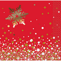 Gold Sparkle Christmas Beverage Napkin (8)