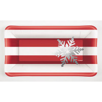 Elegant Red Rectangular Appetizer Plates (8)