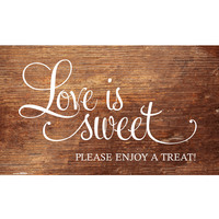 Love Is Sweet Wood Grain Banner