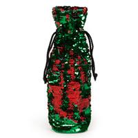 Red & Green Reversible Sequin Wine Bag