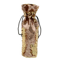 Silver & Gold Reversible Sequin Wine Bag