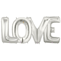 Jumbo Silver Foil Balloons-LOVE