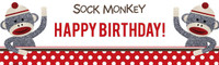 Sock Monkey Red Birthday Banner