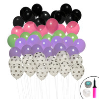Ombre Balloon Kit (Black, Polka Dot, Purple, Lime & Pink)