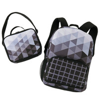 Black & White Fractal Canvas Backpack & Lunch Tote